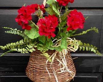 Red Geranium Door Basket