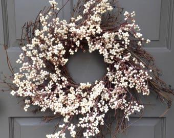 Cream Berry & Twig Wreath