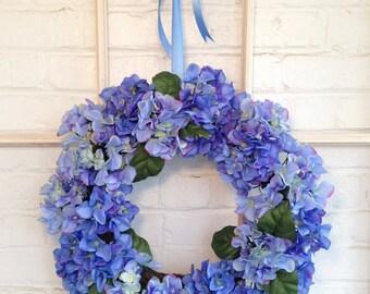 Beautiful Blue Hydrangea Wreath