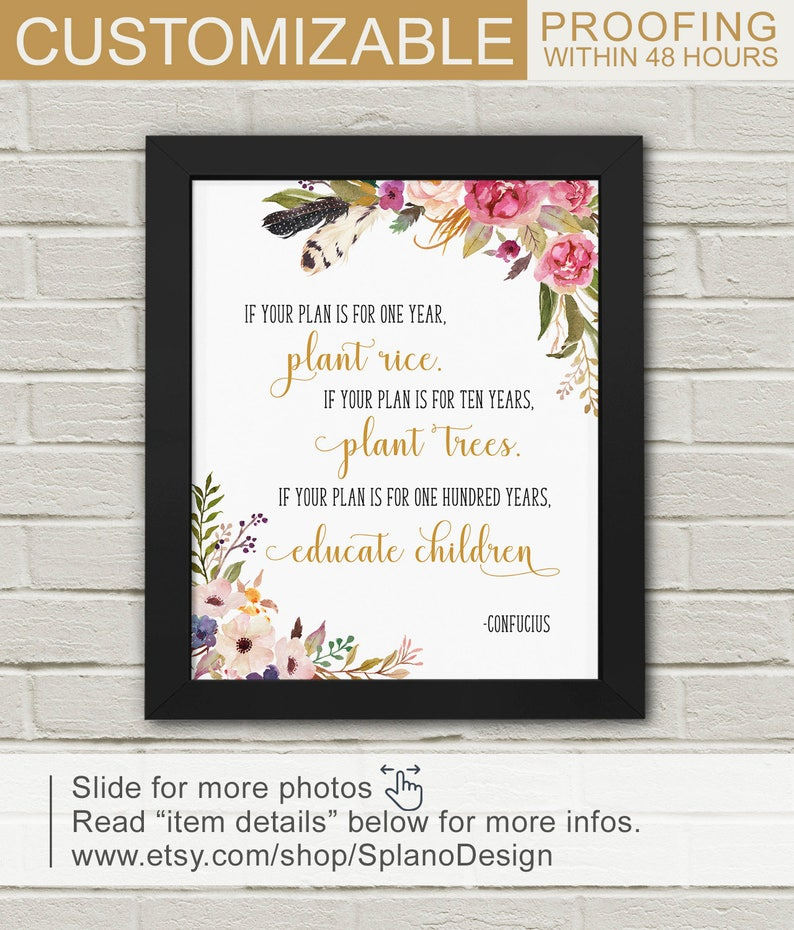 Education Quotes Teacher Gifts Mentor Gift Floral Quote Etsy