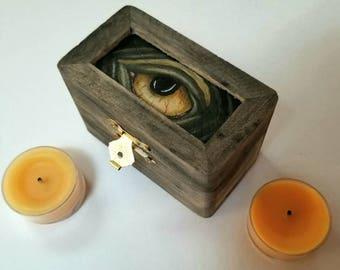 Hand painted Wooden Monster Box - jewelry/keepsake/stash box