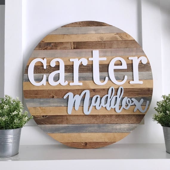 24 Pallet Round Name Sign Wooden Name