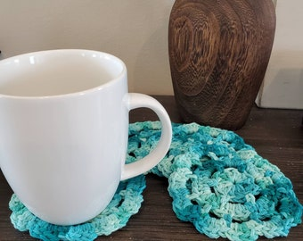 Crocheted coffee and drink coasters, set of 4, blue / green
