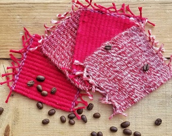 Hand woven coffee and drink coasters, set of 4, red