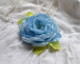 light blue silk  rose brooch  flower royal wedding gift silk  accessory floral pin brooches bridal realistic corsage handmade gift  for her