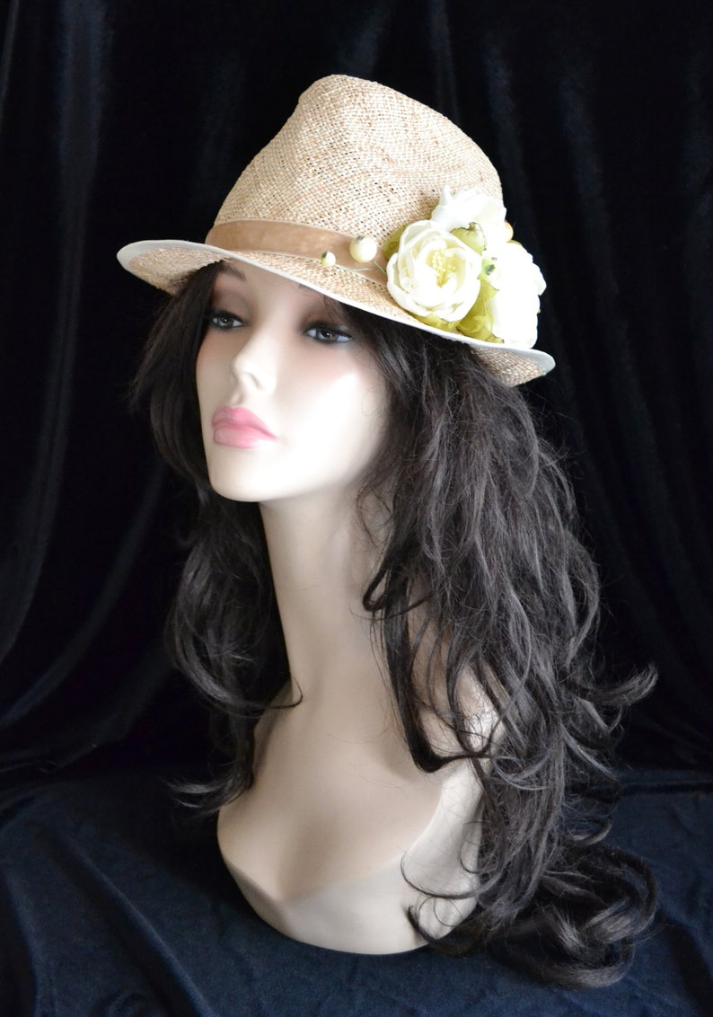 ff9ad90b6 white straw hat fedora with flowers gift for her roses beach summer sun  hats women raffia handmade natural floral womens flower