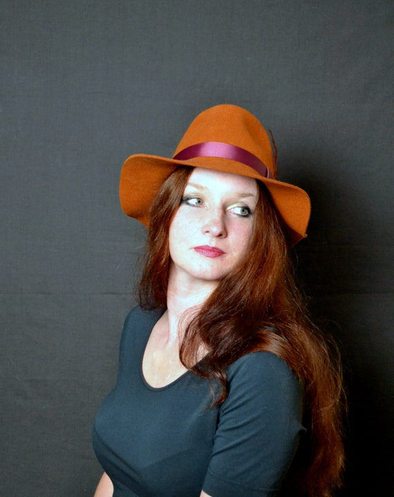 HUPLUE Womens Wide Brimmed Wool Felt Floppy Hat Vintage Women Warm Triby Hats