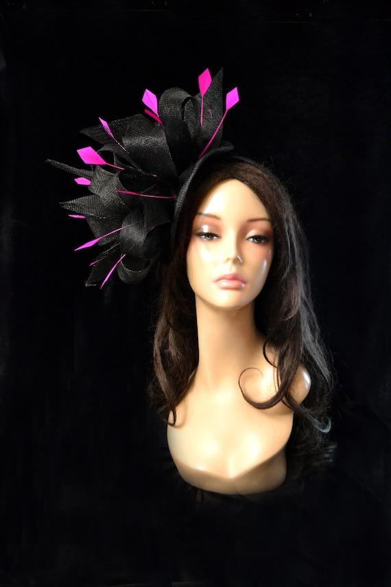 black hot pink wedding hat fascinator church bridal cocktail  d71773277fd1