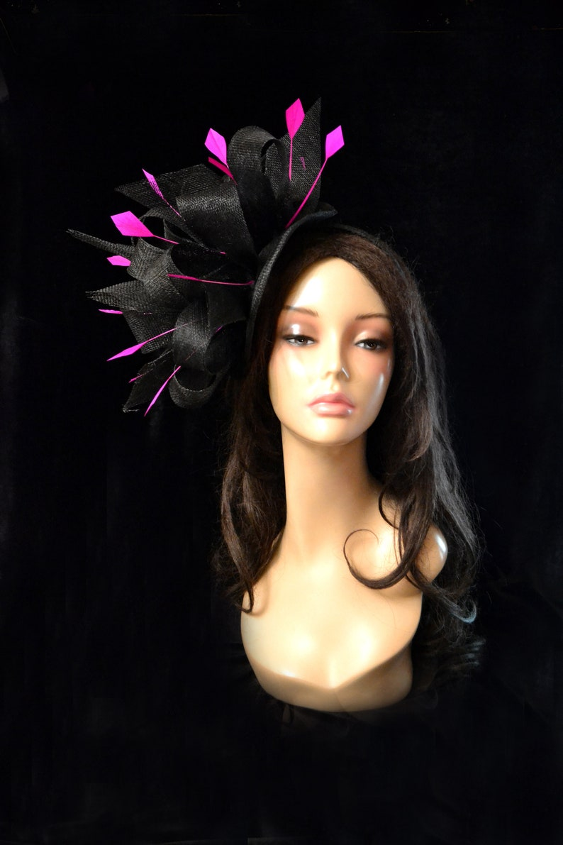 f794f5335 black hot pink wedding hat fascinator church bridal cocktail headpiece  feather derby races millinery kentucky tea party hat ascot