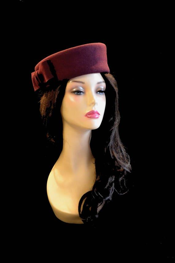 Cherry Red Burgundy Maroon Pillbox Wedding Hat Fascinator Etsy