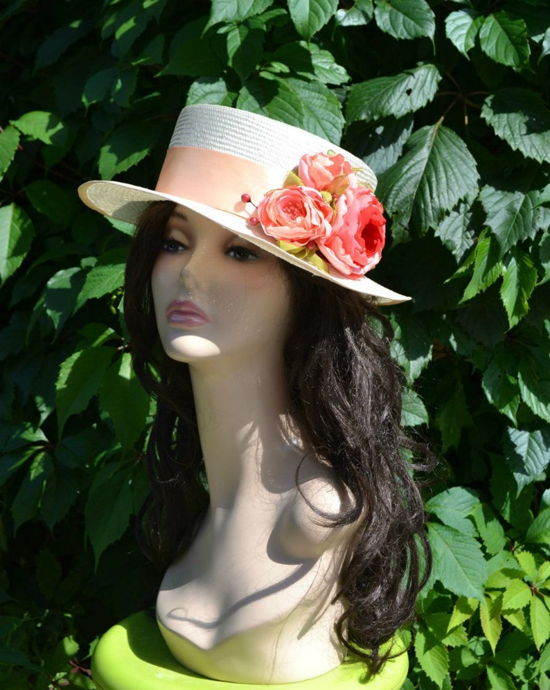 5d1de3417 straw women summer boater hat with flowers pink gift for her boaters  canotier fleur womens straw hats peach sun kentucky derby red roses