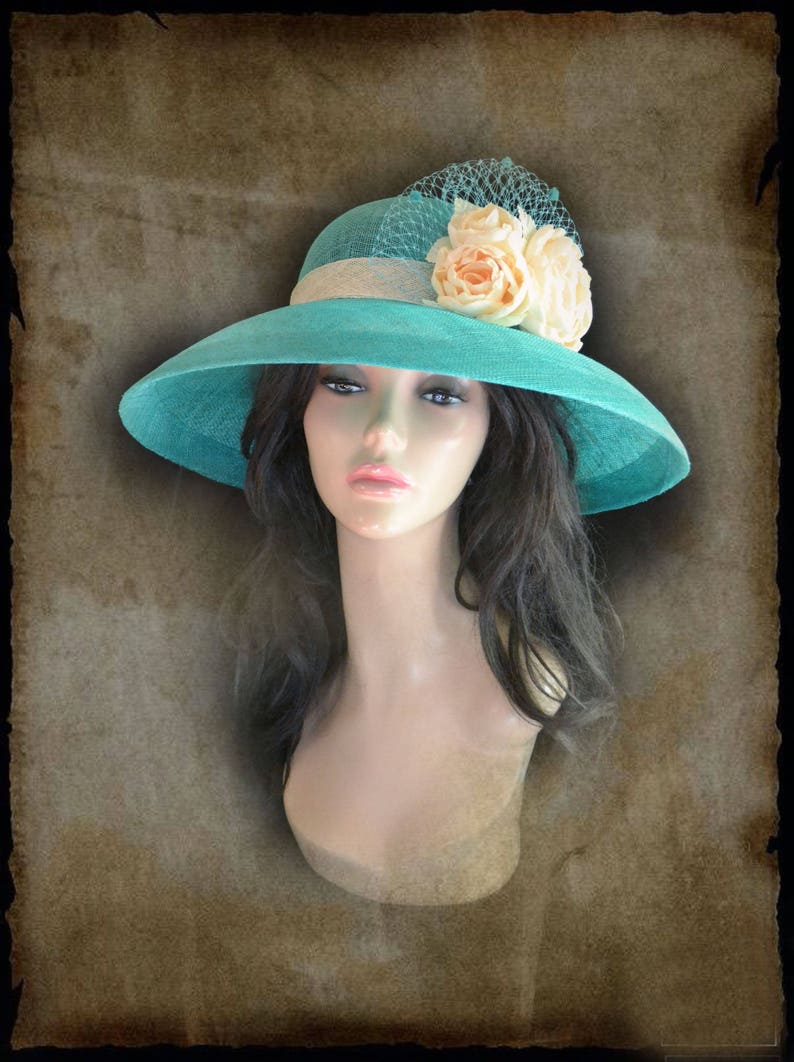 eb5a22011 sinamay flower turquoise tea party blue church hat fascinator summer  kentucky derby ascot wedding cocktail mother of bride womens straw