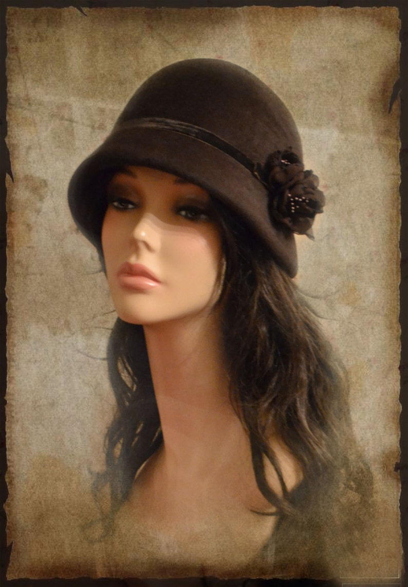 Cloche hat 20s style women winter brown great gatsby handmade  e7b93226c613