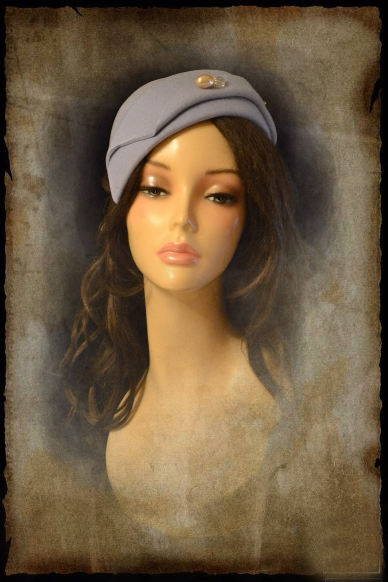 8a8bda125 gray Vintage retro hat style cocktail Felt church 1940s wool 1930s 1920s  blue womens women handmade gift for her Cloche art deco