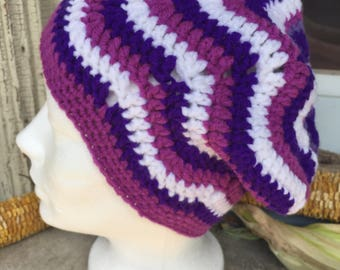 African Flower Ripple Slouchy Hat: purple, black and white