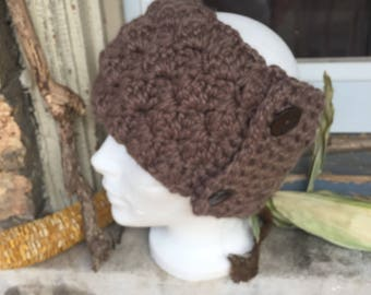 Crochet Earwarmer with Vintage Buttons