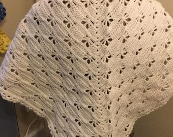 Butterfly stitch cream colored shawl