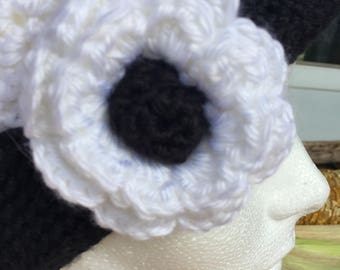 Woman's White Crocheted Hat with Flower and Black Band