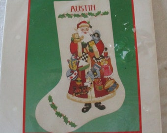 crewel embroidery christmas stocking kit vintage dimensions santa full of toys crewel embroidery stocking kit old fashioned santa crewel