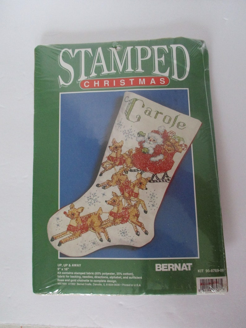 Christmas Stocking Kit.Stamped Cross Stitch Christmas Stocking Kit Santa Stocking Kit Santa And Reindeer Stocking Kit Christmas Stocking Kit Up Up Away Kit
