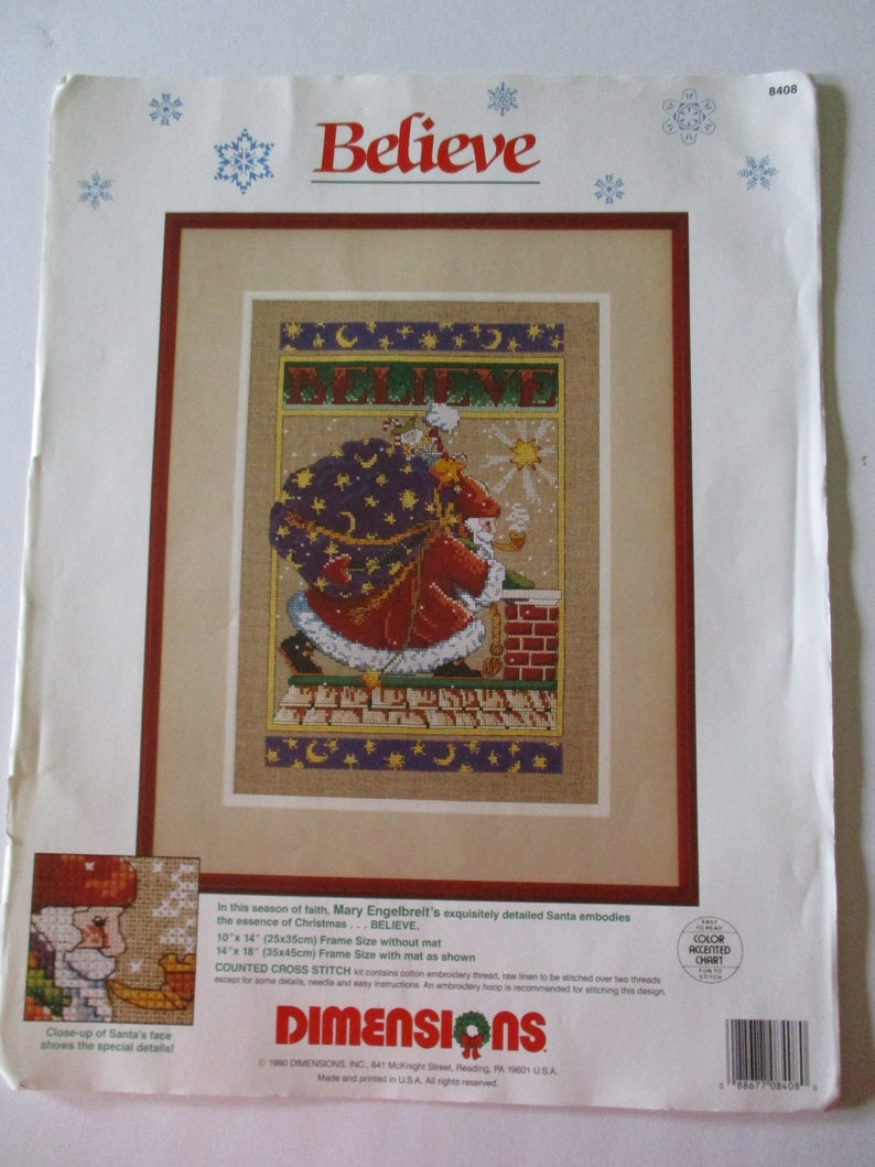 727d483f Christmas Cross Stitch Kit Mary Engelbreit Believe Kit Santa   Etsy