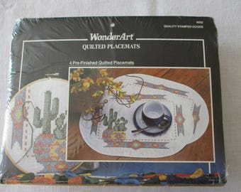 Wonder Art Quilted Southwest Themed Cactus Stamped Placemats Embroidery Kit, 4 Pre-Finished Quilted Placements Indian Cactus Placemats Kit