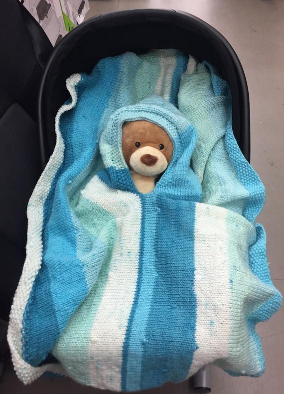Knitting Pattern Snuggler Hooded Car Seat Blanket Knitted Etsy