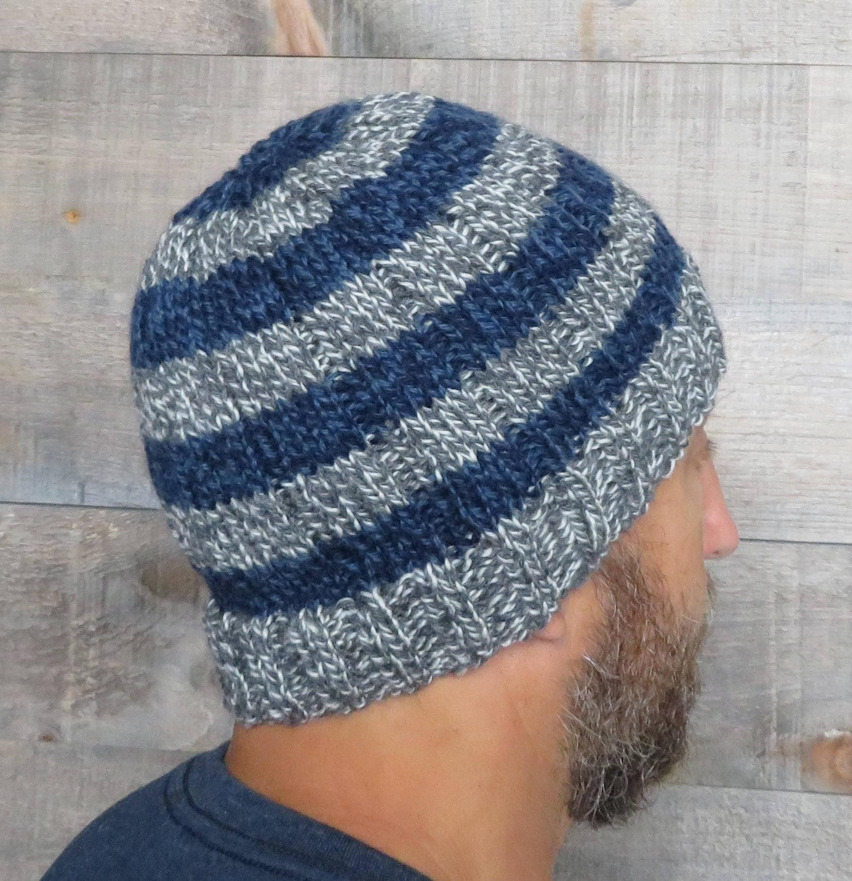 KNITTING PATTERN - Easy Striped Beanie, easy knitting pattern ...