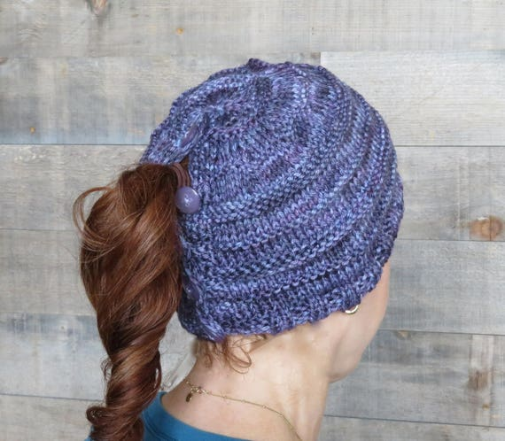 Knitting Pattern Easy Trails Ponytail Hat Pattern Ponytail Etsy
