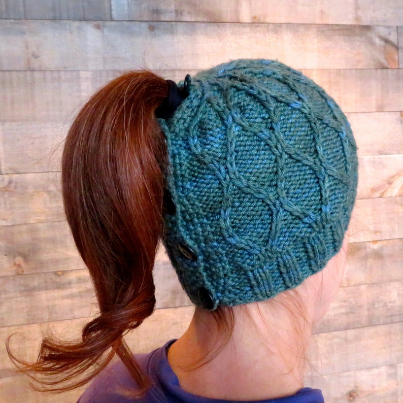 133a738fdde KNITTING PATTERN Trellis Ponytail Hat messy bun beanie