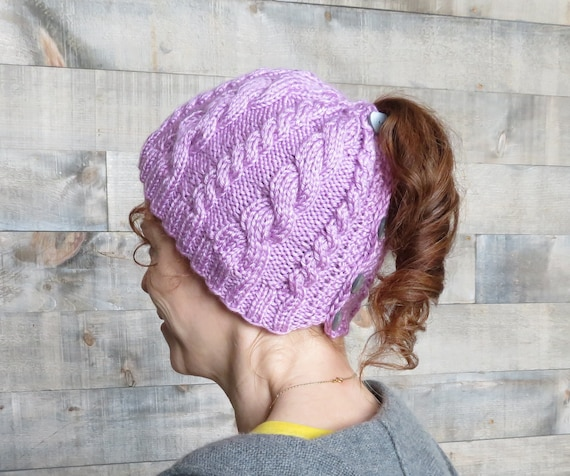 Double Cable Ponytail Hat Messy Bun Hat Knitting Pattern Etsy