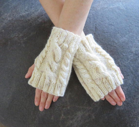 Knitting Pattern Quick Cable Knit Fingerless Gloves Knitting Etsy