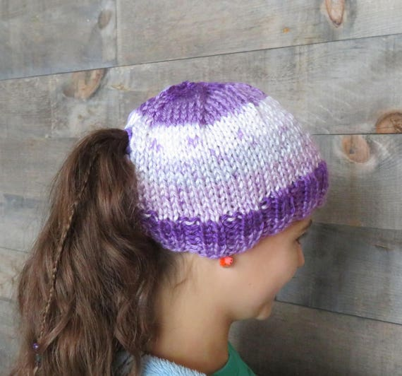 Knitting Pattern Quick And Soft Girls Ponytail Hat Knitting Etsy