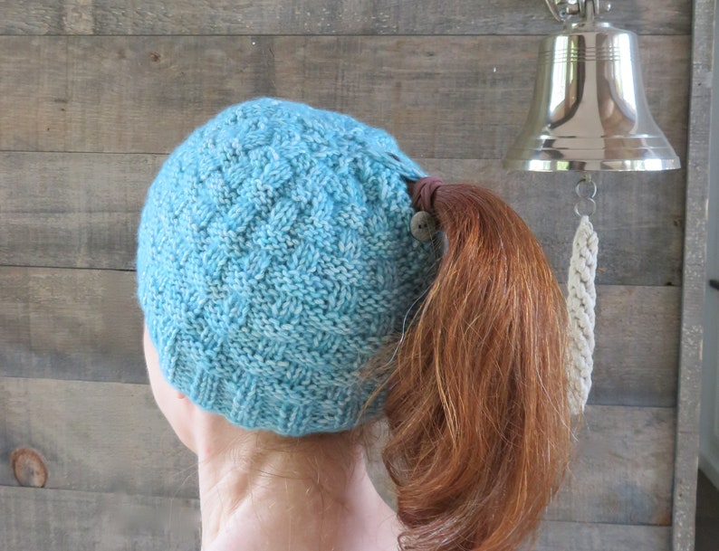 f3bc1d3399d KNITTING PATTERN Basketweave Ponytail Hat  hat knitting