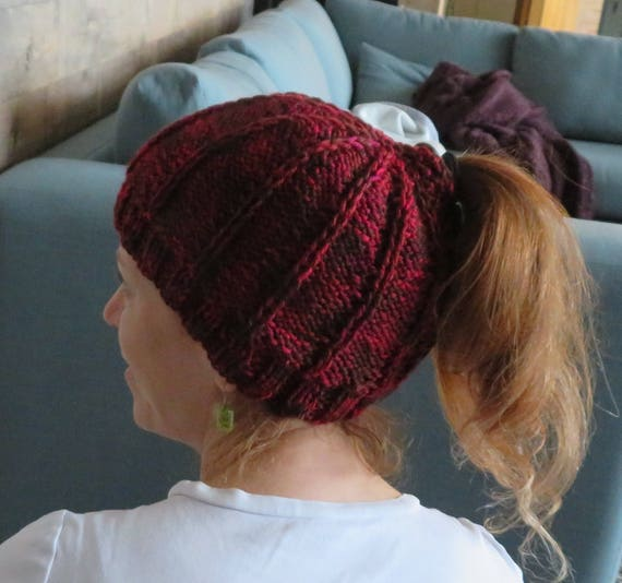 KNITTING PATTERN  Ponytail Hat Knitting Pattern  Messy Bun Hat ... 68840efb0e5