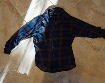 1df222d6 90s Vintage GAP sheer plaid blouse, button-down