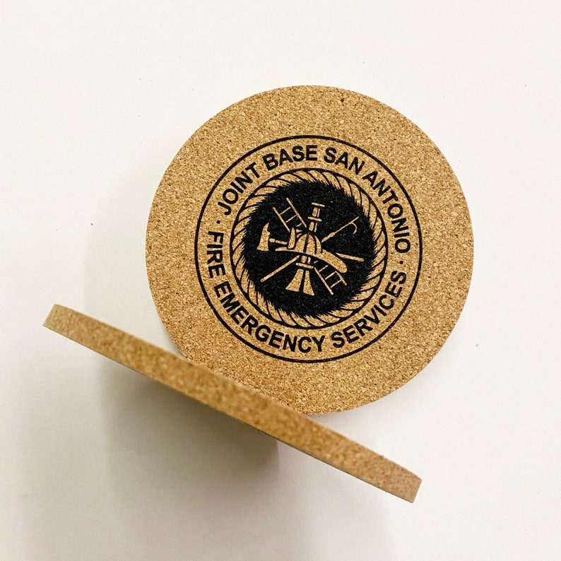 Teacher or Business Gift 14 Thick Cork 4 Round Coasters Reusable CUSTOM Coasters Great Wedding Eco Sturdy Gift Box or Bulk