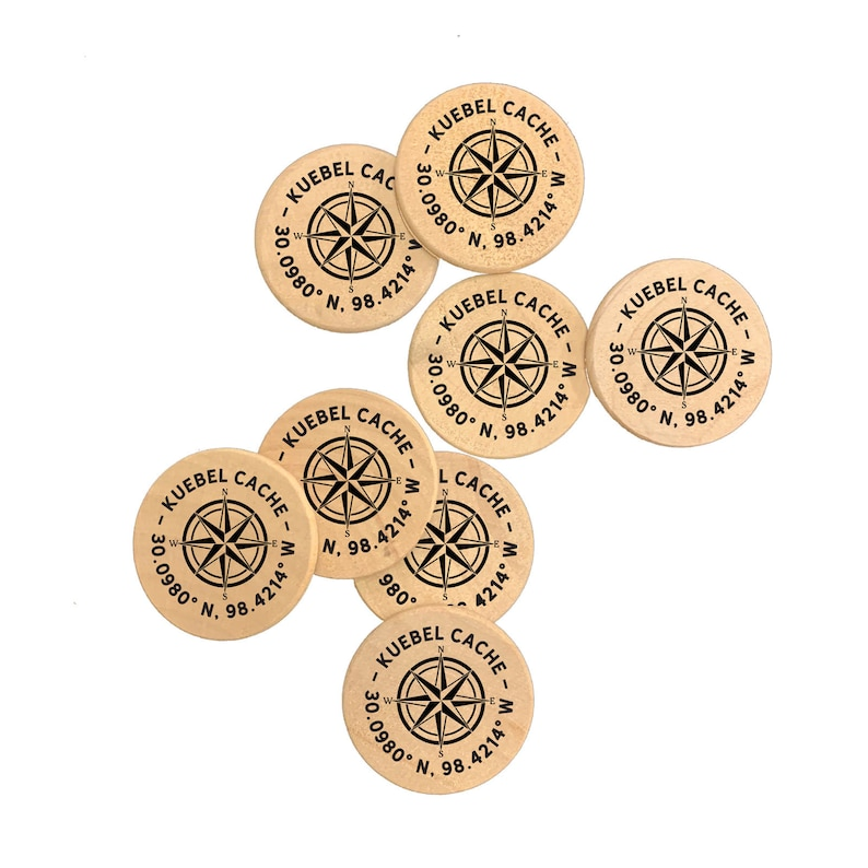 Custom Natural Wood Personalized Printed Wooden Magnets 15 Inch Geocache Coins Wooden Nickels Poker Chips Free U S Shipping