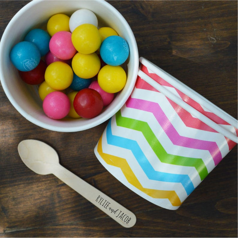Free Us Shipping Qty 25 Ice Cream Cups And Printed Message Spoons Choose Your Cup Color And Size Plus Wooden Spoons
