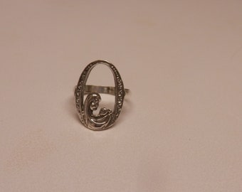 Sterling Silver Mother & Child Ring