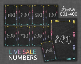 Facebook Live Sale, Number Cards, Live Sale Numbers, Facebook Live, Reverse Numbers, Mirror Numbers, Numbers 001 - 400 - black