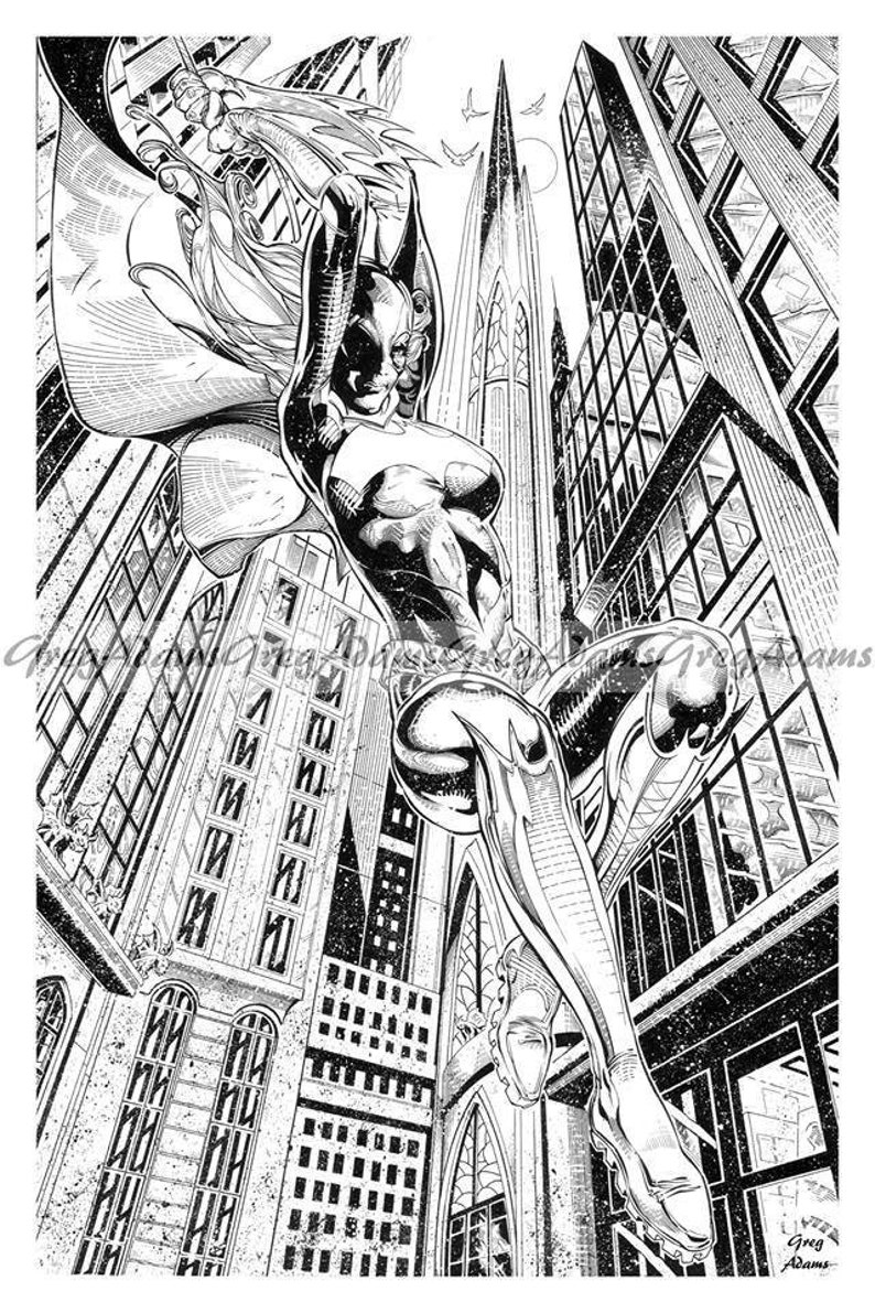 Bat girl swinging through gotham city dc comics batman 12 x 18 etsy