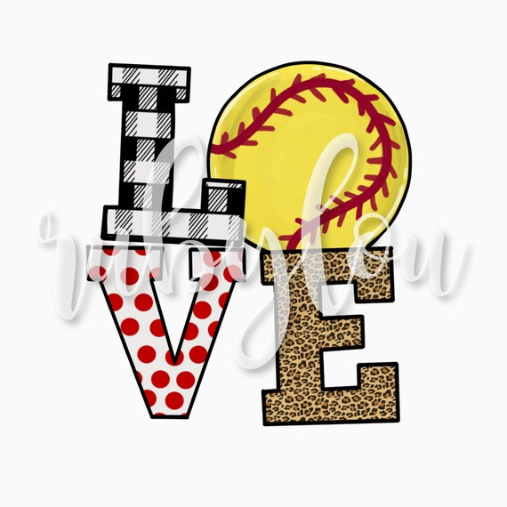 Softball Love Red Dots Digital Download Sublimation Design Hand Drawni Printable Artwork I Digital File