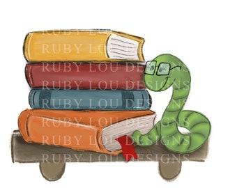 Book Worm  PNG | bookworm | read reading reader | digital download | Sublimation design hand drawnI Printable Artwork I Digital File