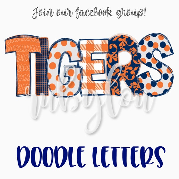 TIGERS PNG patchwork doodle letters | blue and orange |digital download |  Sublimation design hand drawnI Printable Artwork I Digital File