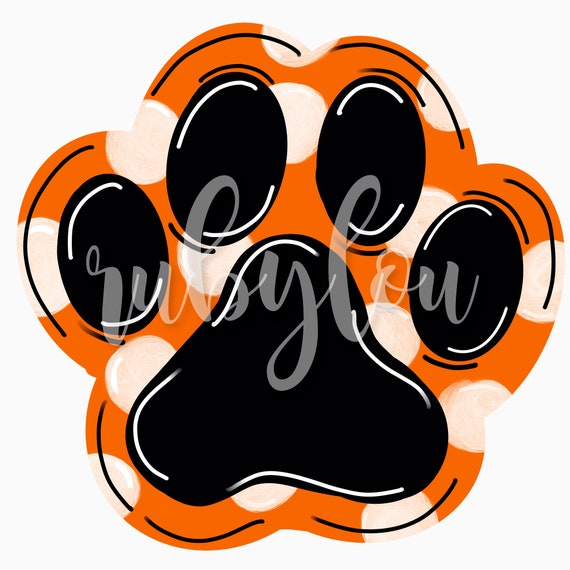 Cute Hand Drawn Paw Print Orange Black Sublimation Design Etsy It's high quality and easy to use. etsy