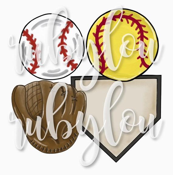 Baseball Softball Bundle Home Plate Home Base Ball Glove Digital Download Printable Artwork I Digital File