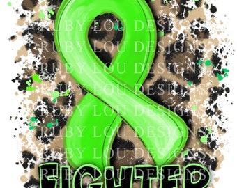 Leopard Green Awareness Ribbon | Fighter | digital download || Sublimation || PNG I Printable Art I Digital File