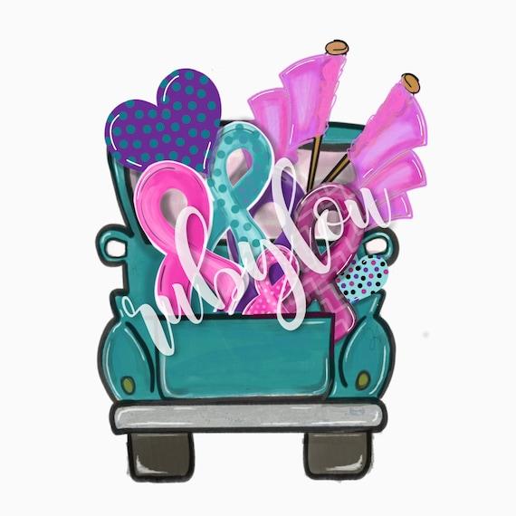 Ovarian Breast Cancer Awareness Ribbon Digital Download Etsy
