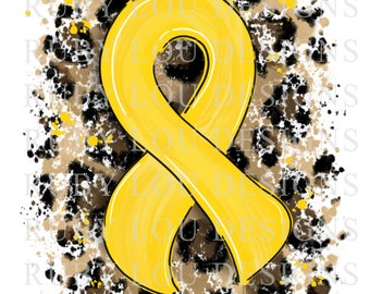 Leopard YELLOW Ribbon Awareness Ribbon | digital download || Sublimation || PNG I Printable Art I Digital File